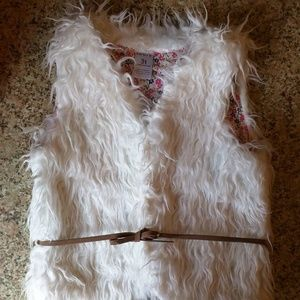 Carters - toddler white fake fur vest
